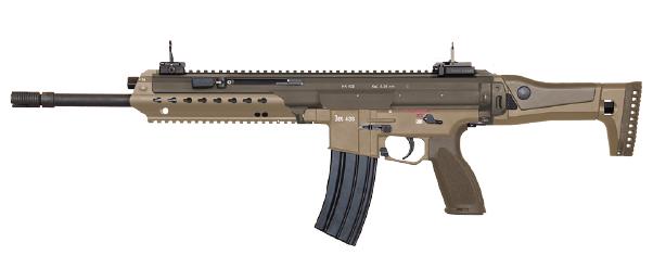 Podemos apreciar el guardamanos Slim Line del Heckler & Koch HK433 5,56mm x 45 en color más claro