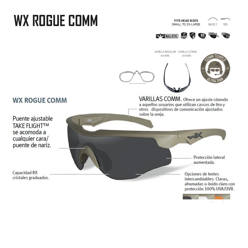 94cb6292c5 Gafas balísticas de alto rendimiento ROGUE COMM Wiley X