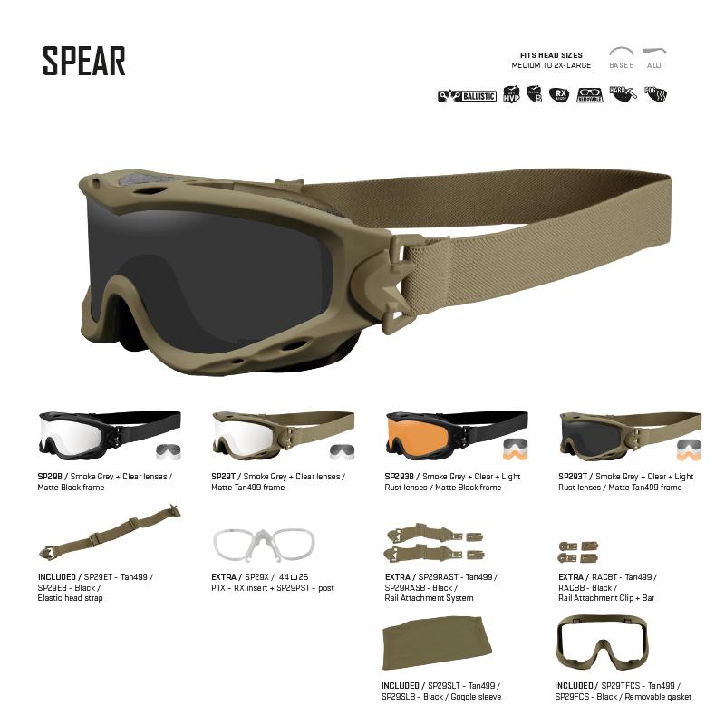 5d11bd03f0 Gafas balísticas de alto rendimiento SPEAR Wiley X