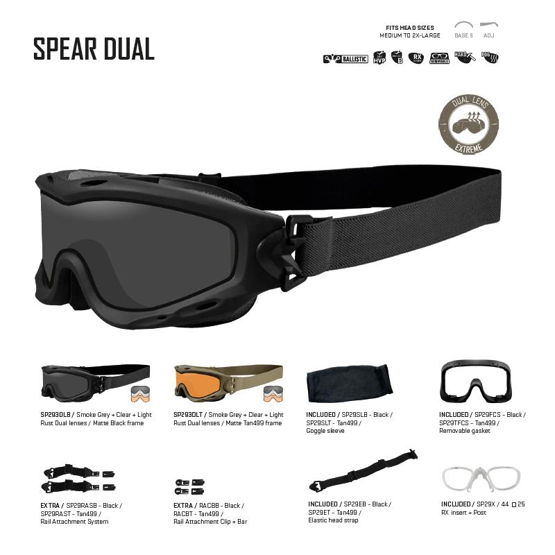 2647914550 Gafas balísticas de alto rendimiento SPEAR DUAL Wiley X