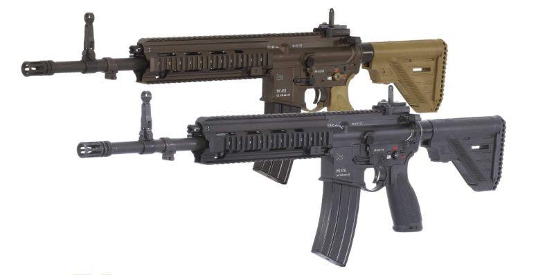 Dos versiones del rifle de asalto Heckler & Koch HK416 A5